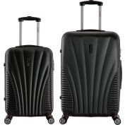 "InUSA Chicago Lightweight Hardside Spinner 2-Piece Luggage Set 21""/25"" - Black"