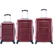 "InUSA Pilot Lightweight Hardside Spinner 3-Piece Luggage Set 20""/24""/28"" - Wine"