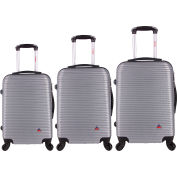"InUSA Royal Lightweight Hardside Spinner 3-Piece Luggage Set 20""/24""/28"" - Silver"