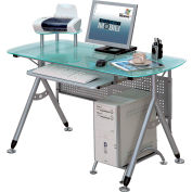 """Techni Mobili Glass Computer Desk, 47""""W x 23-1/2""""D x 34-1/2""""H, Frosted"""