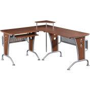 """Techni Mobili L-shaped Computer Desk, 67""""W x 57""""D x 33""""H, Mahogany"""