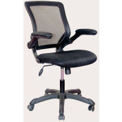 Techni Mobili Mesh Task Chair with Flip-Up Arms, RTA-8050-BK, Mid-Back, Black