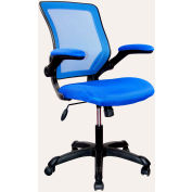 Techni Mobili Mesh Task Chair with Flip-Up Arms, RTA-8050-BL, Mid-Back, Blue