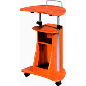 "Techni Mobili Rolling Laptop Cart with Storage, 22""W x 16""D x 44""H, Wood Grain"