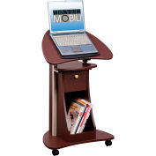 """Techni Mobili Deluxe Rolling Laptop Cart with Storage, 21-1/2""""W x 15-1/2""""D x 31- 45""""H, Chocolate"""