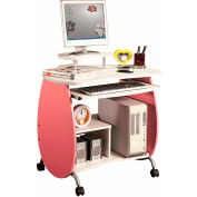 "Techni Mobili Petit Pink Mobile Computer Desk, 32""W x 24""D x 33""H, Pink & White"