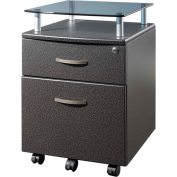"""Techni Mobili Rolling Glass Top File Cabinet, 14""""W x 18""""D x 24""""H, Graphite"""