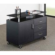 """Techni Mobili Deluxe Rolling Glass Top Storage Cabinet, 31-1/2""""W x 16""""D x 23-1/4""""H, Graphite"""