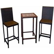 AZ Patio Indoor/Outdoor Resin Wicker 3 Piece Bistro Set, Chocolate