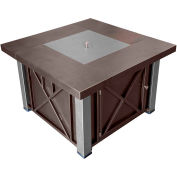 Hiland Fire Pit GSF-DGHSS Propane 40000 BTU Decorative w/Legs and Lid Bronze/Stainless Steel