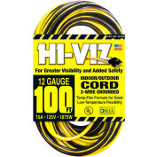 U.S. Wire 55100 100 Ft. Hi-Viz Grounded Yellow & Black Extension Cord, 12/3 Ga SJTW-A, 300V, 15A