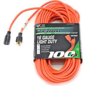 U.S. Wire 60100 100 Ft. Three Conductor Orange Extension Cord, 16/3 Ga. SJTW, 300V, 13A