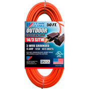 U.S. Wire 63050 50 Ft. Three Conductor Orange Extension Cord, 14/3 Ga. SJTW-A, 300V, 15A