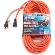 U.S. Wire 63100 100 Ft. Three Conductor Orange Extension Cord, 14/3 Ga. SJTW-A, 300V, 13A