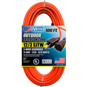 U.S. Wire 65100 100 Ft. Three Conductor Orange Extension Cord, 12/3 Ga. SJTW-A, 15A