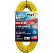 U.S. Wire 73025 25 Ft. Three Conductor Yellow Temp-Flex Lighted Plug Cord, 14/3 Ga., 300V 15A