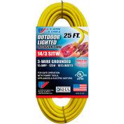 U.S. Wire 73025 25 Ft. Three Conductor Yellow Temp-Flex Lighted Plug Cord, 14/3 Ga., 300V 15A