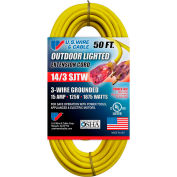 U.S. Wire 73050 50 Ft. Three Conductor Yellow Temp-Flex Lighted Plug Cord, 14/3 Ga., 300V, 15A