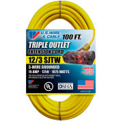 U.S. Wire 76100 100 Ft. 12/3 SJTW-A Pow-R-Block Extension, Round, Yellow, 300V, Illuminated Plug