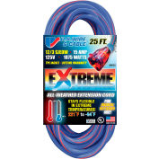 U.S. Wire 99025 25 Ft. Three Conductor Artic/Tropic Cord, 12/3 Ga. SJEOW-A, 15A, Blue w/Red Stripe