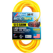 U.S. Wire 89050 50 Ft. Yellow Artic/Tropic Cord W/Pow-R Block, 12/3 Ga. SJEOW-A, 300V, 15A