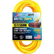 U.S. Wire 99050PB 50 Ft. Artic/Tropic Cord W/Pow-R Block, 12/3 Ga. SJEOW-A, 300V, 15A, Blue