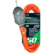 U.S. Wire TL550 50 Ft. Trouble Light W/Outlet & Metal Bulb Cage, 16/3 Ga. SJT, 13A