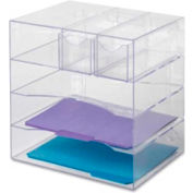 Rubbermaid Four-Way Desktop Organizer with Two Removeable Drawers Clear