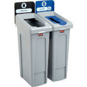 Rubbermaid Slim Jim Recycling Station, Landfill/Paper, (2) 23 Gallon - 2007915