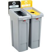 Rubbermaid Slim Jim Recycling Station, Landfill/Bottles & Cans, (2) 23 Gallon - 2007916