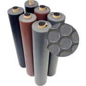 "Rubber-Cal ""Coin-Grip"" Anti-Slip Rubber Mat, 2mm THK x 4'W x 4'L, Dark Gray"