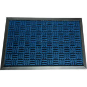 "Rubber-Cal ""Wellington"" Rubber Backed Carpet Mat, 4'W x 6'L, Entrance Door Mat, Blue"