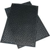 """Rubber-Cal """"Dura-Scraper Drainage"""" Commercial Door Mat, 3/8""""THK x 24""""W x 36""""L, Black"""