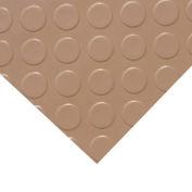 """Rubber-Cal """"Coin-Grip (Metallic)"""" PVC Flooring, Beige, 2.5mm THK x 4'W x 4'L"""