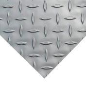 "Rubber-Cal ""Diamond-Plate (Metallic)"" PVC Flooring, Silver, 2.5mm THK x 4'W x 6'L"