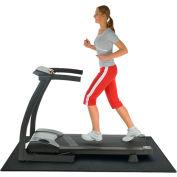 """Rubber-Cal """"Treadmill Mat"""", 3/16""""THK x 4'W x 7.5'L, Black Heavy-Duty Fitness Equipment Mat"""