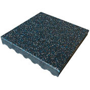 """Rubber-Cal """"Eco-Safety"""" Playground Tiles, 3""""THK x 19.5""""W x 19.5""""L, Blue/White Speckled"""