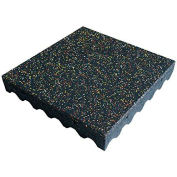 "Rubber-Cal ""Eco-Safety"" Playground Tiles, 3""THK x 19.5""W x 19.5""L, Yellow/Red/White Speckled"