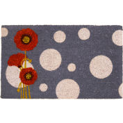 "Rubber-Cal Rouge Floral Contemporary Coir Door Mat 5/8"" Thick 1.5' x 2.5'"