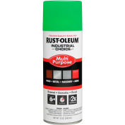 Rust-Oleum Industrial 1600 System Gen Purpose Enamel Aerosol, Fluorescent Green, 12 oz. - 1632830 - Pkg Qty 6