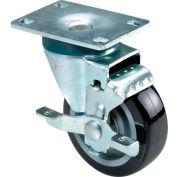 "RWM Casters 27 Series Versatrac 4-1/4""Height, 3"" Phenolic Wheel with Side Wheel Brake, Swivel Caster"