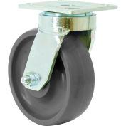 "RWM 48 Series 6-1/2""Height, 5"" Rubber on Aluminum Wheel w/Side Wheel Brake Tread, Swivel Caster"