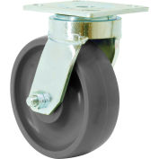 "RWM Casters 48 Series 6-1/2""Height, 5"" Rubber on Aluminum Wheel, Swivel Caster"