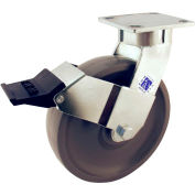 "RWM Casters 65 Series 7-1/2""Height, 6"" Signature Wheel with Face Contact Brake, Swivel Caster"