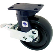 """RWM Casters 75 Series 10-1/8""""Height, 2-1/2""""W, 8"""" Cast Iron Wheel with Cam Wheel Brake, Swivel Caster"""