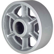 """RWM Casters 6"""" x 2"""" Cast Iron Wheel with Roller Bearing for 1/2"""" Axle, 1200 Lbs. Capacity"""