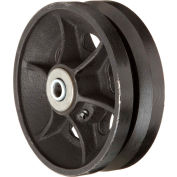 """RWM Casters 5"""" x 2"""" V-Groove Iron Wheel with Roller Bearing - VIR-0520-08 - 1/2"""" Axle - 800 Lb. Cap."""