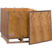 "Global Industrial™ 4-Panel Hinged Shipping Crate with Lid & Pallet, 30"" x 30"" x 30"" O.D."