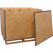 "Global Industrial™ 6-Panel Shipping Crate with Lid & Pallet, 48"" x 40"" x 42"" O.D."