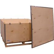 "Global Industrial™ 6-Panel Shipping Crate with Lid & Pallet, 48"" x 48"" x 28"" O.D."